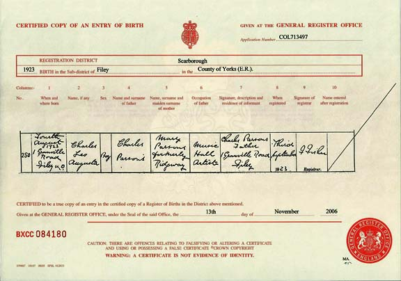 Birth certificate Leo BlaIr
