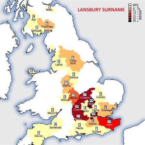 Lansbury surname map