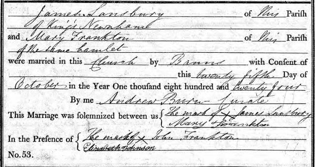 Marriage of James Lansbury & Mary Frankton