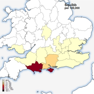 Squibb surname map