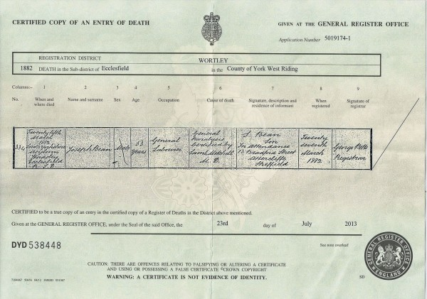 Death certificate of Joseph Bean