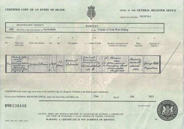 Death certificate of Joseph Bean