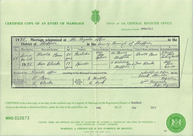Marriage cert of Harold Bean & Ann Clarke