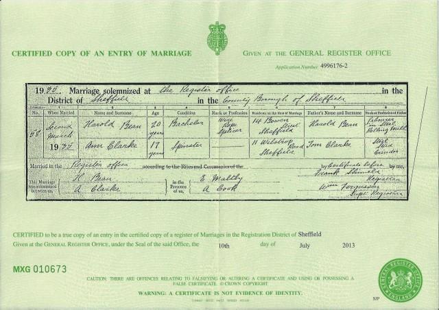 Marriage cert of Harold Bean & Ann Clarke