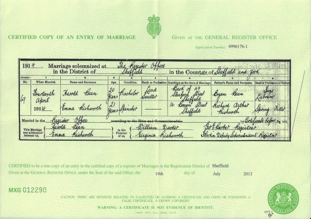 Marriage cert of Harold Bean & Emma Rishworth