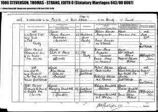 Marriage Thomas Stevenson & Edith Strang